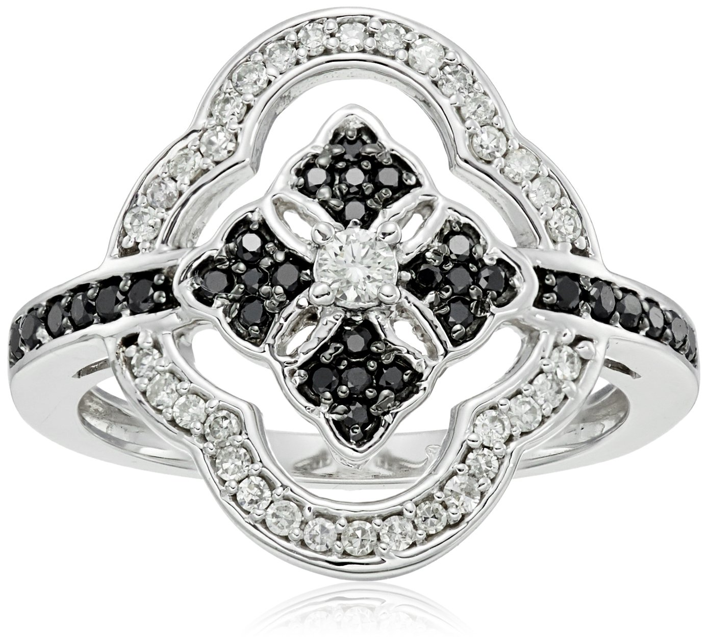 10k Black and White Diamond Ring (3/8cttw, H-I Color, I2-I3 Clarity), Size 6 by Amazon Collection