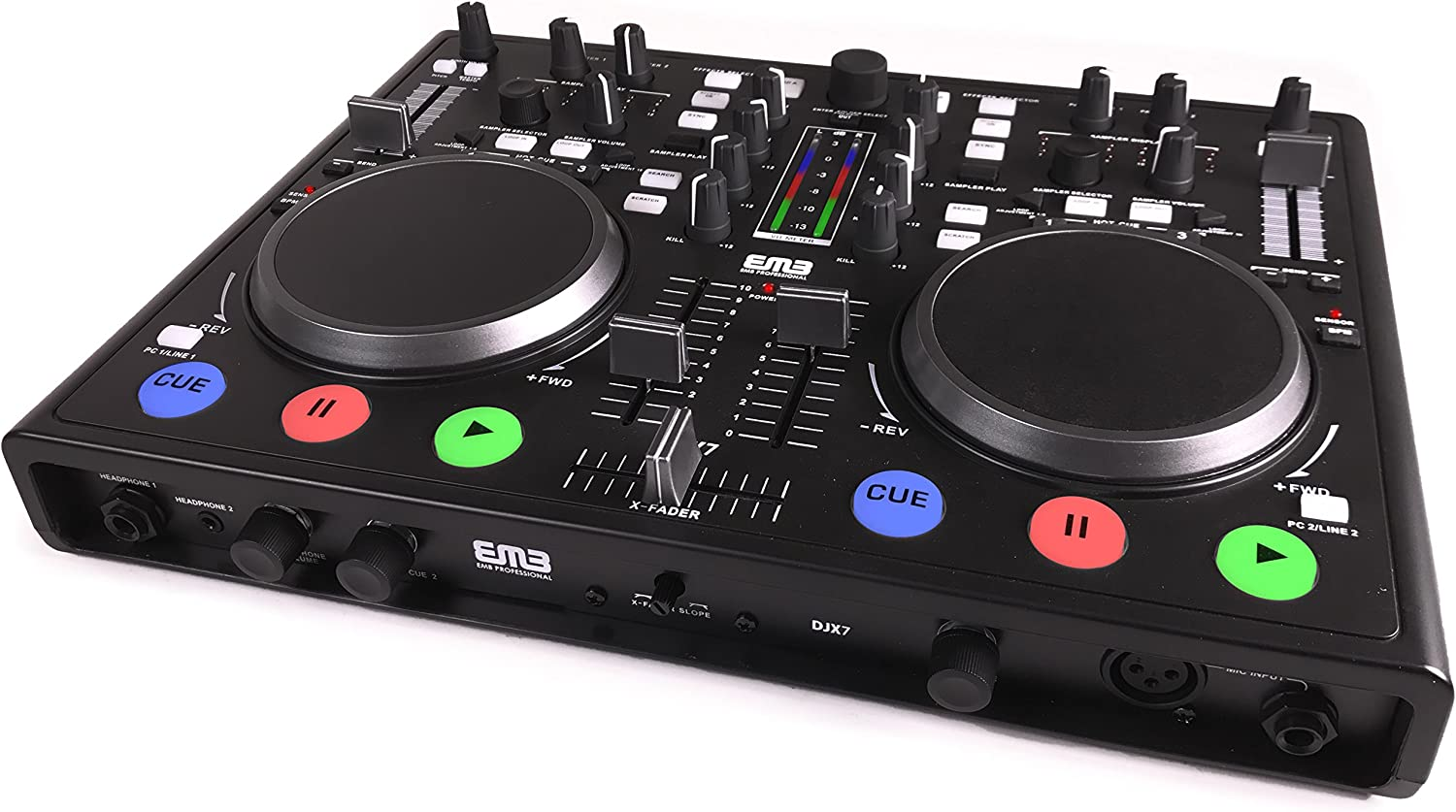 Amazon.com: EMB - DJX7 - NEW Professional DUAL MP3 Mixer DJ Scratch Midi  Controller! Virtual DJ Software included! (Matte Black): Musical Instruments