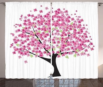 Amazon.com: Ambesonne House Decor Curtains 2 Panel Set, Cherry ...