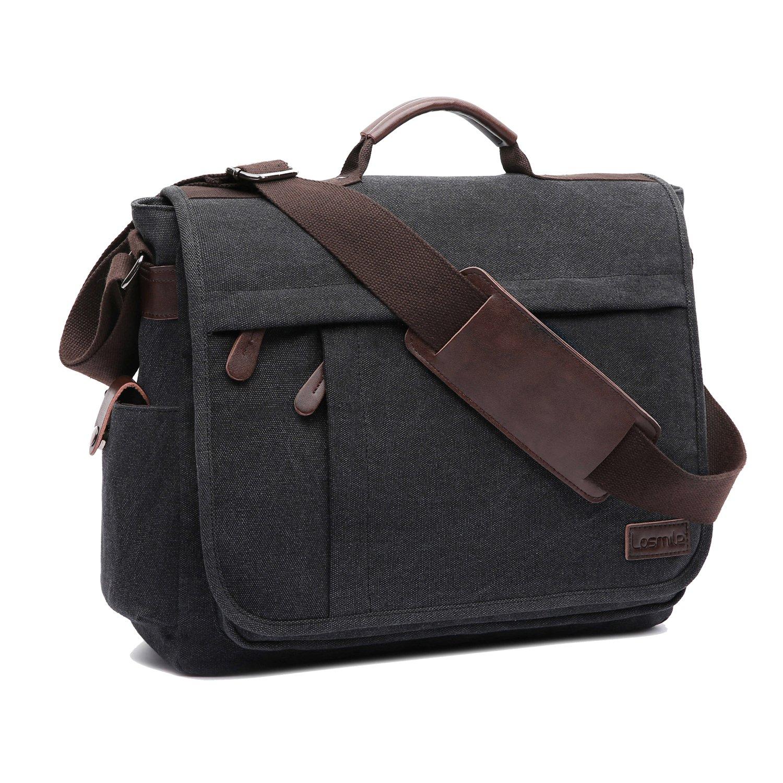 LOSMILE Large Messenger Bag.15.6 Inch Laptop Bag, Shoulder Bag Canvas Briefcase for Work School.(Black)