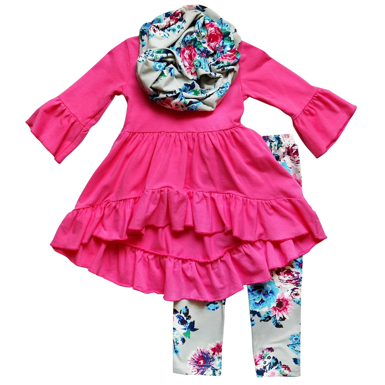 So Sydney Toddler Girls 3 Pc Hi Lo Ruffle Flare Tunic Top Outfit, Infinity Scarf (XXXL (8), Hot Pink Gray Vintage Floral)