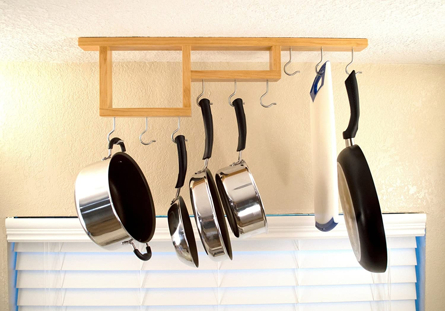 Amazon.com: Pot Rack: Easy to Reach Ceiling Mount Solid-Wood Pan ...