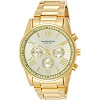 Akribos XXIV Men's Gold Multifunction Dual Time Zone Watch - Bezel with Inner Tachymeter Scale - Sunburst Dial with Date/Day Subdial and Luminous Hands - Stainless Steel Bracelet - AK736