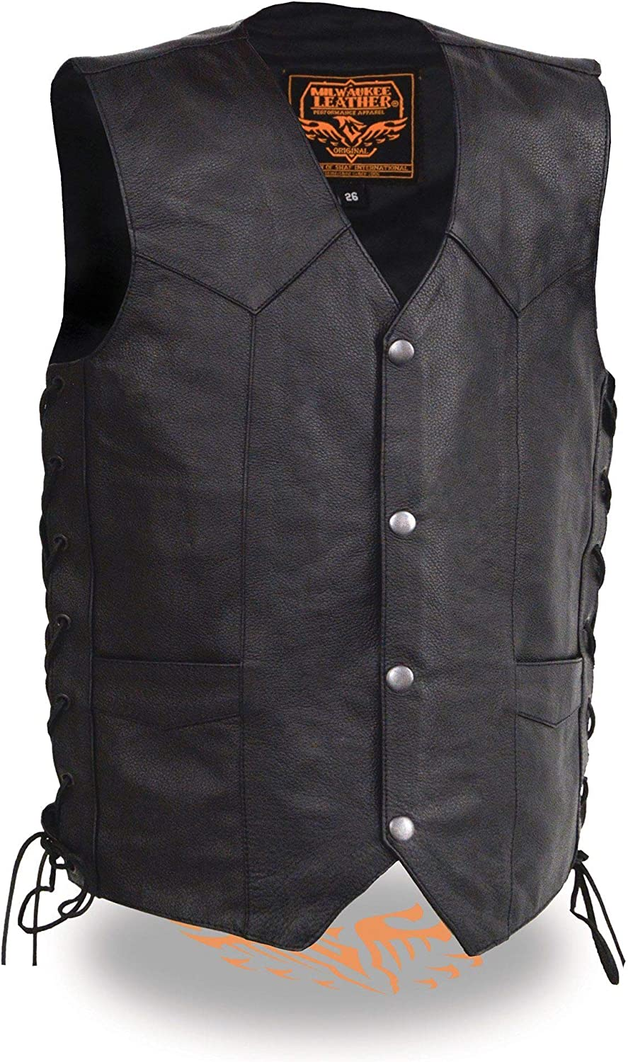 Milwaukee Leather LKY3860-BLK-20 Boys Youth Size Leather Side Lace Biker Vest Black Size 20