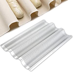 Stainless Steel Perforated French Baguette Bread Pan 3 Waves Toaster Oven Baking Tray (15