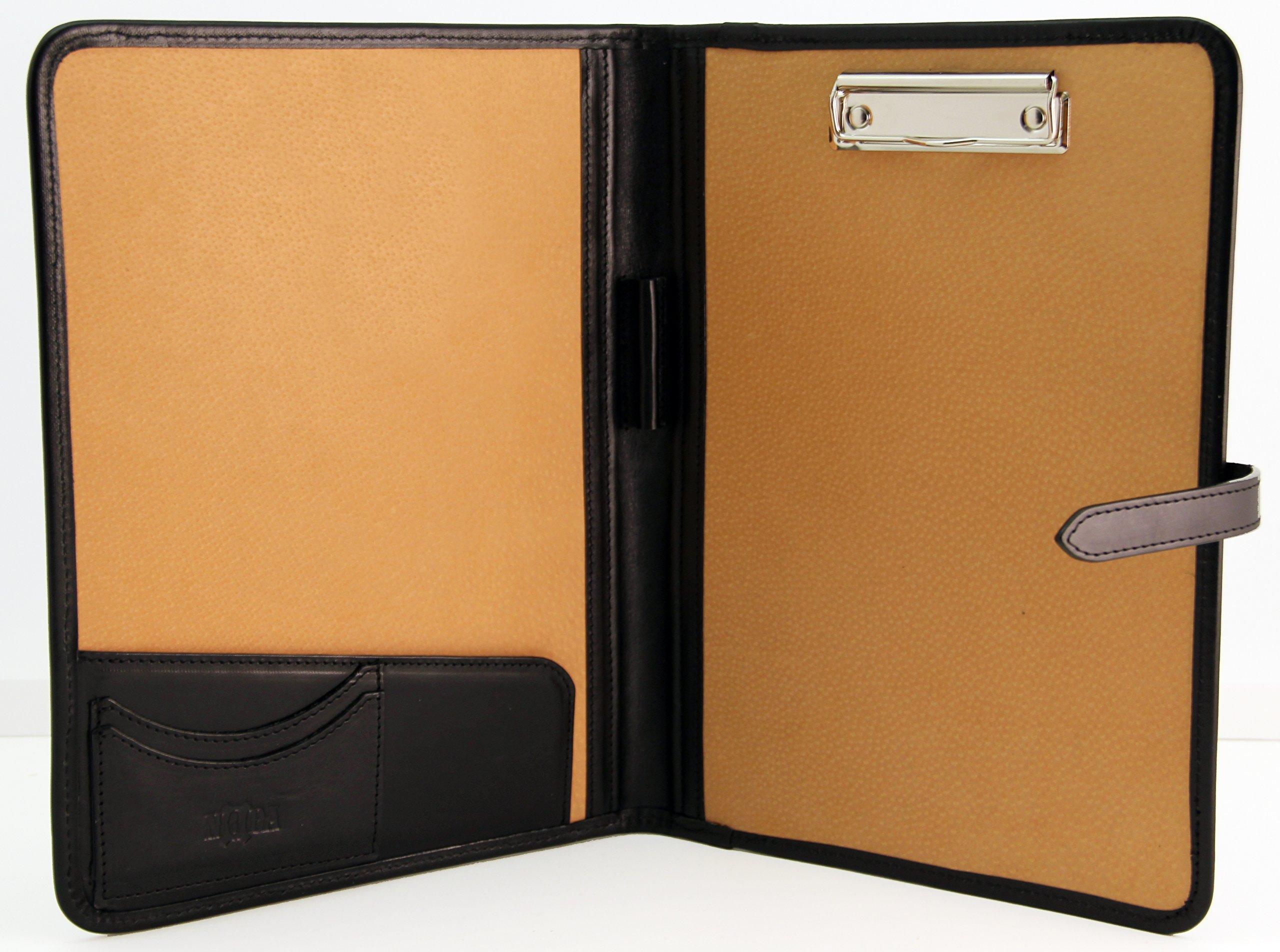 Noda Italian Genuine Vegetable Tanned Leather Business Presentation Meeting Conference A4 Folder Clipboard Writing Pad Organiser (Black)