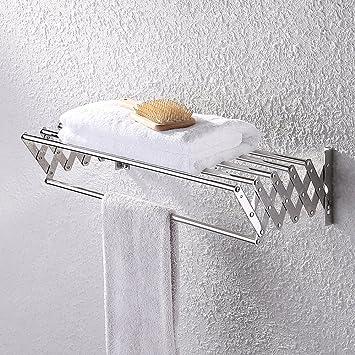 KES Bathroom Towel Bar   Retractable Towel Rack Storage Organizer Hanger  Wall Mount, Polished SUS