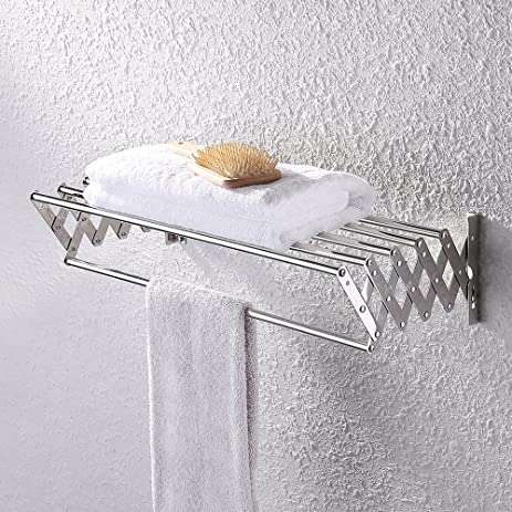kes bathroom towel bar retractable towel rack storage organizer hanger wall mount polished sus