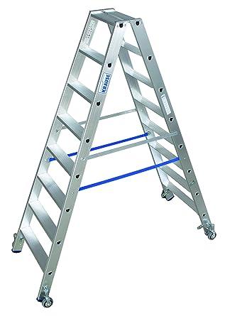 LDE869 Escalera de Tijera Doble con Ruedas, 2 x 8 Peldaño, 3.4 m Altura de Escalera, 1.9 m Altura Escalera: Amazon.es: Industria, empresas y ciencia