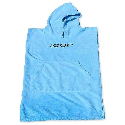 Cor Infantil Poncho toalla Robe luz y oscuro azul para edades 3 - 10 (azul