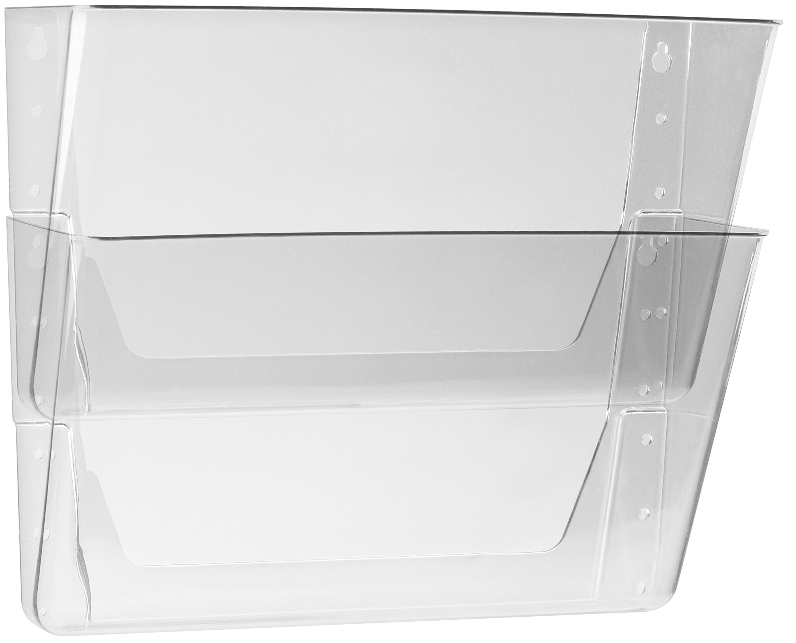 Storex Letter Sized Wall Files, 2-Pack, Clear, Case of 6 (STX70223B06C)