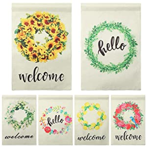Spornic 6 Pack Garden Flags Welcome Wreath Spring Outside Small Yard Flag 12x18 Burlap Seasonal Decorative Flags.