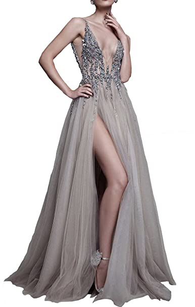 Changjie Womens Beading Prom Dress Side Slit Tulle Formal Evening Party Gown