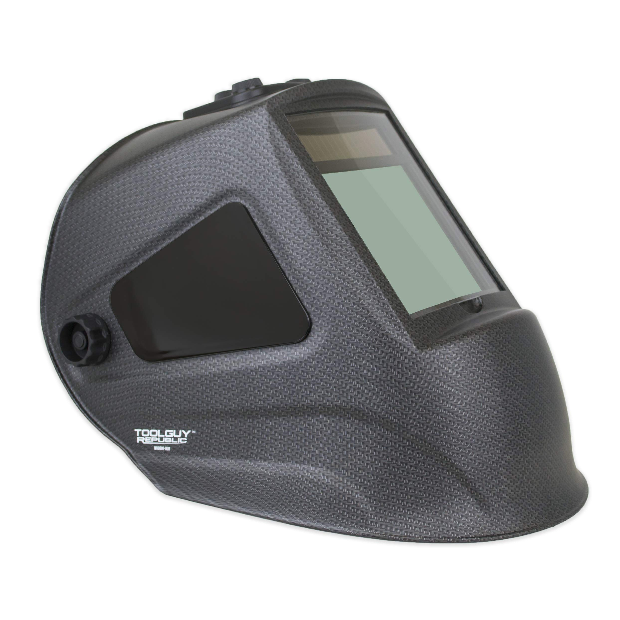TGR Extra Large View Auto Darkening Welding Helmet 4''W x 3.65''H with SIDE VIEW (Matte Carbon Fiber)