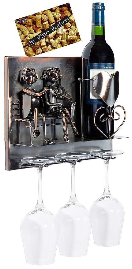 BRUBAKER Porta botella de vino amantes - Wall Art cuadro de metal ...