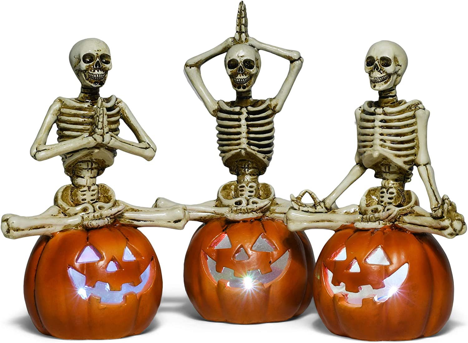 RAZ Imports Halloween Party 8.5-Inch Yoga Skeleton On Lighted Pumpkin Figurine, Assortment of 3