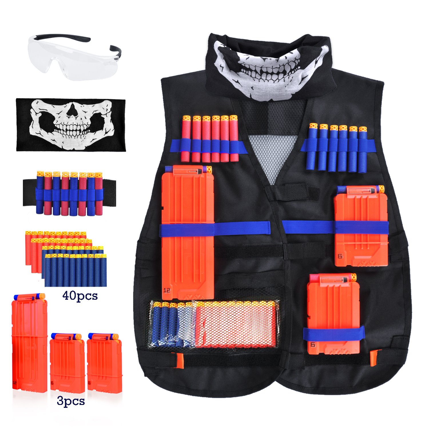 Amazon.com: Kids Tactical Vest Kit for Nerf Guns N-Strike Elite Series,  with 40 Pcs Refill Darts, 3 Reload Clips, Face Tube Mask and Protective  Glasses: ...