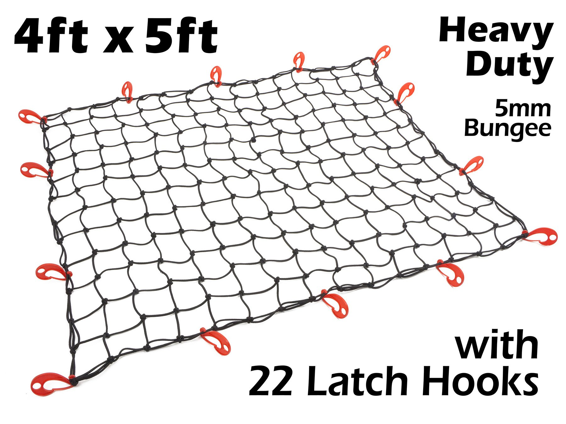 4ft x 5ft PowerTye Mfg Heavy-Duty 5mm Bungee Premium Elastic Cargo Net | Stretches to 72'' x 84'' | Includes 14 Large Latch Hooks, Black