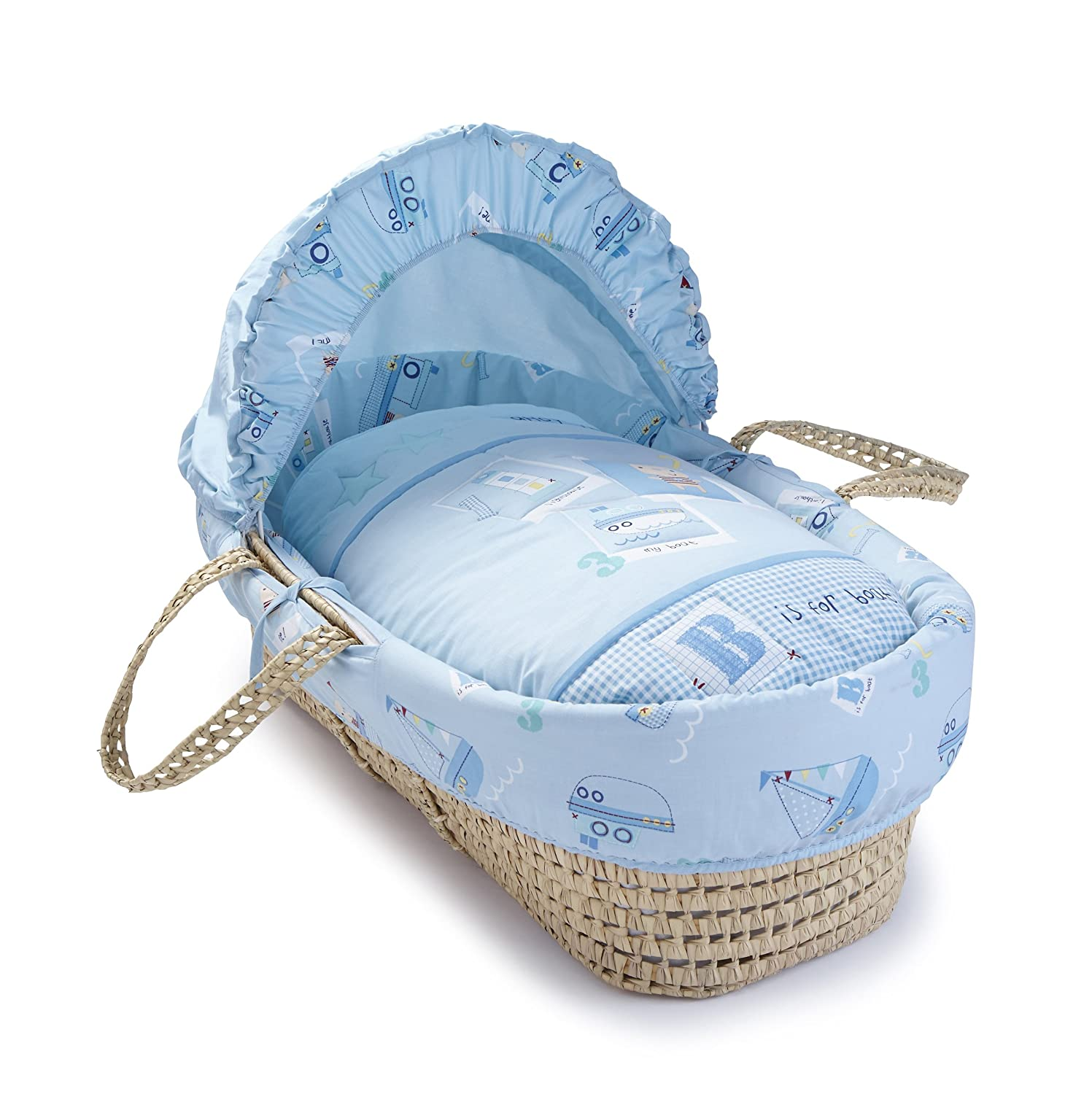 Clair de Lune Ahoy Palm Moses Basket inc. bedding, mattress & adjustable hood (Blue) CL5011