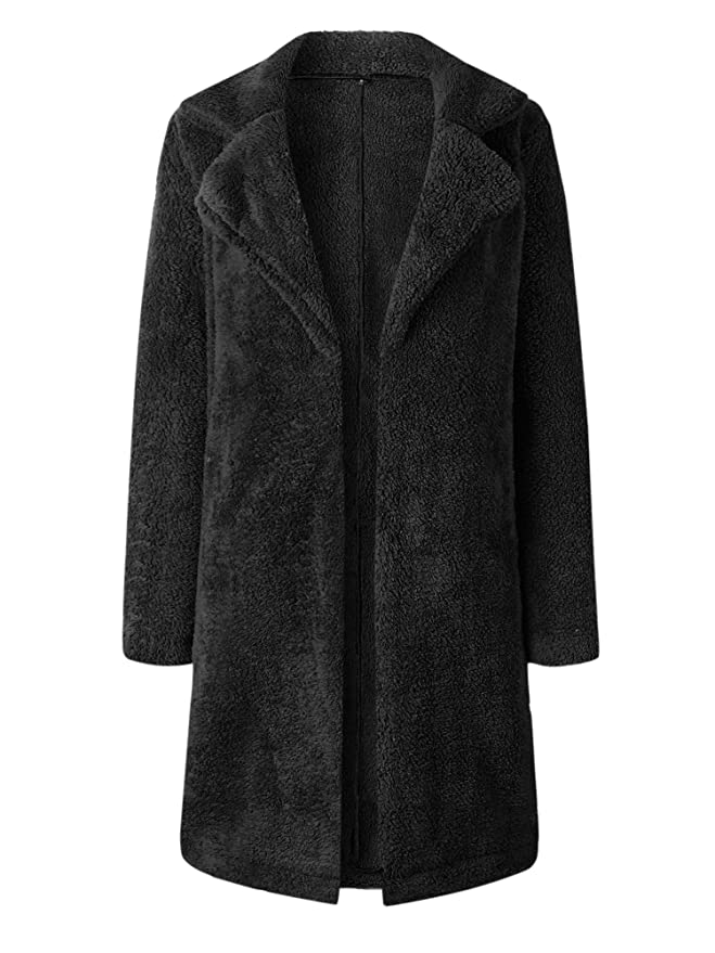 Hibluco Womens Open Front Lapel Faux Fur Long Cardigan Coat with Pockets at Amazon Womens Coats Shop