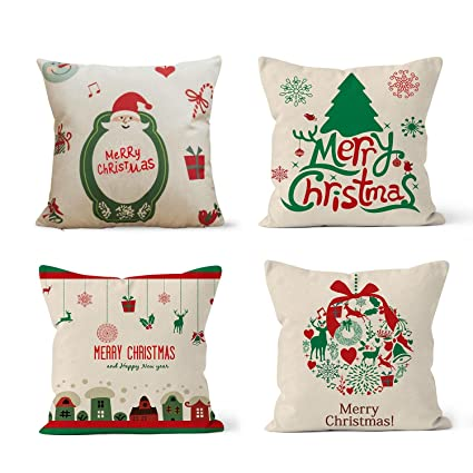 Amazon BLEUM CADE Christmas Series Pillow Covers Christmas Tree Fascinating Decorating Pillow Cases