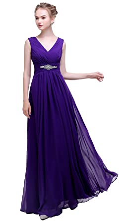 Dark Purple V-Neck Prom Dress