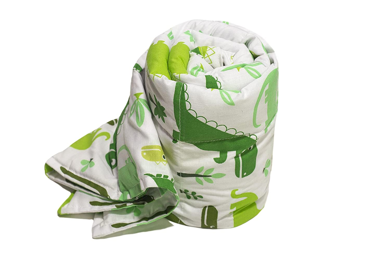 TherapieDecke - Grüne Dinosaurier Gewichtsdecke - Schwere Decke für Kinder Jugendliche mit Schlafproblemen und Funktionsstörungen, Größe  90x120 cm, 2 kg