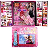 GRAPPLE DEALS Girl's Fashion Stylish Girl Doll with Dresses and Cool Accessories (Multicolour)