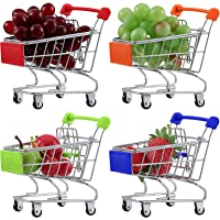 4 Pieces Mini Shopping Cart Colorful Metal Miniature Shopping Grocery Cart Tiny Supermarket Handcart Mini Shopping…