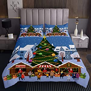 Warmly Christmas Town Quilted Coverlet Heavy House Print Bedspread Queen Soft Microfiber Bedroom Coverlet Sets 3 Pieces(1 Coverlet Set with 2 Pillow Shams)