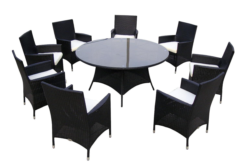 Baidani Gartenmöbel-Sets 10d00010.00001 Designer Lounge-Garnitur Rondo, 1 Tisch mit Glasplatte, 8 Stühle, Sitzauflagen schwarz