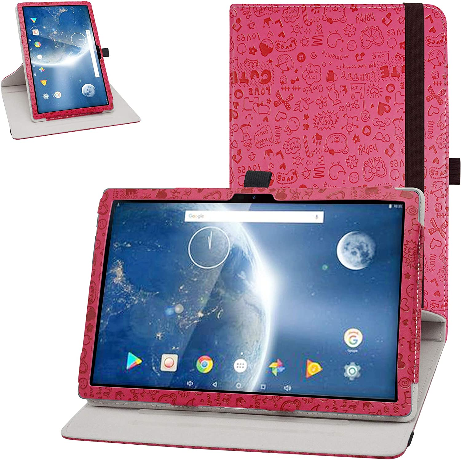 Bige for Dragon Touch Notepad 102 Case,360 Degree Rotary Stand with Cute Pattern Cover for 10.1