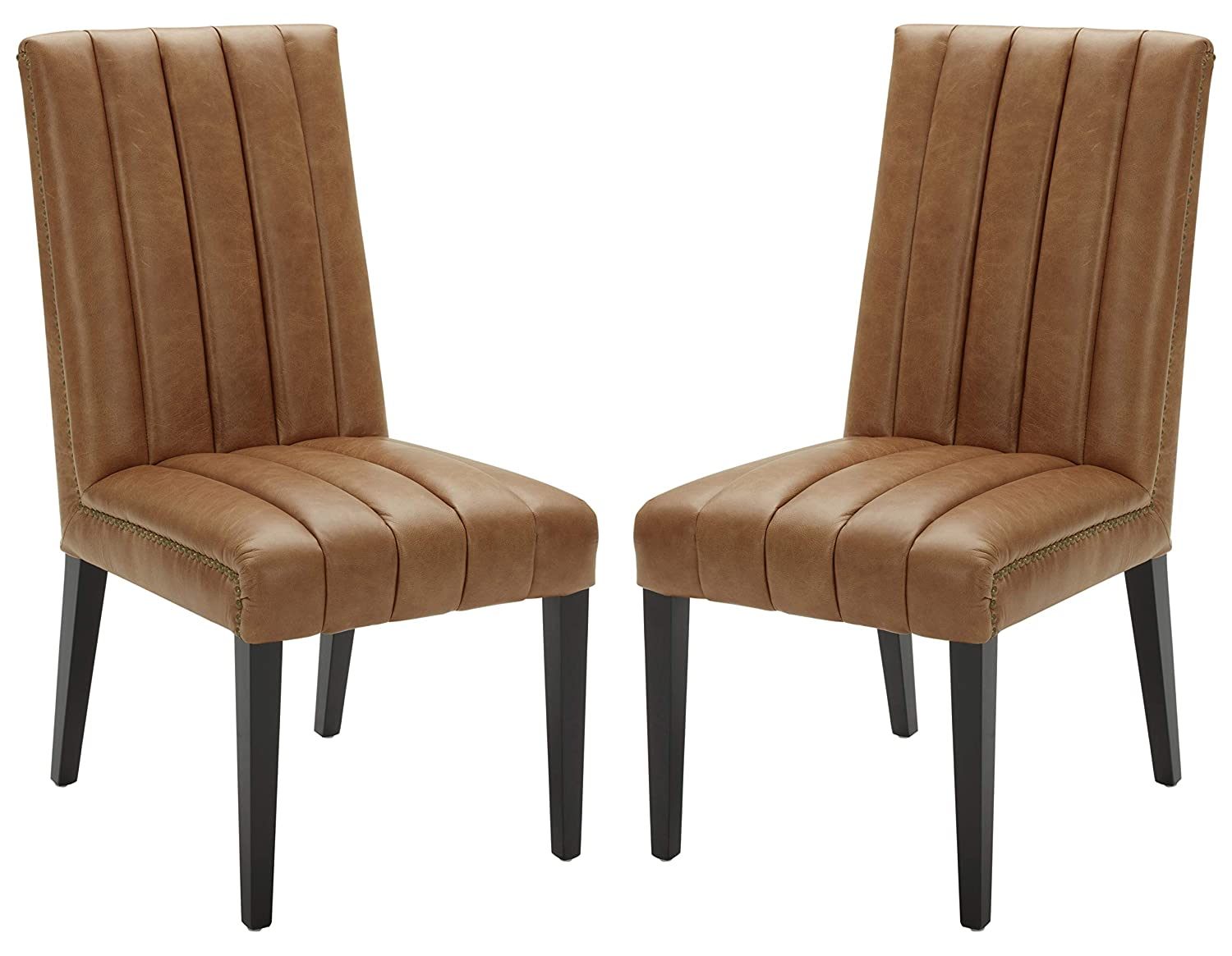 Stone Beam Channel-Back Leather Dining Chairs, 40 H, Cognac, Set of 2