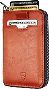 Vaultskin Notting Hill zip wallet with RFID protection (Cognac)