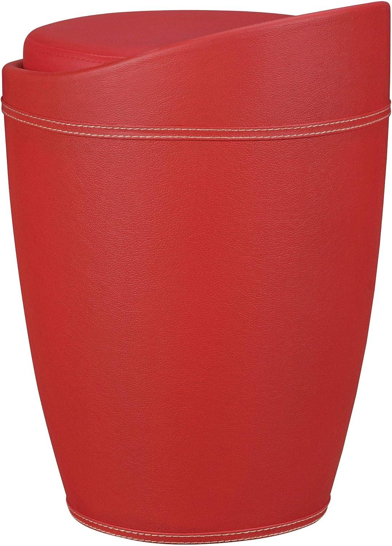 Tabouret avec Compartiment de Rangement FineBuy Panier /à Linge 35 x 50 x 35 cm Noir Cuir synth/étique Tabouret avec Function Coffre /à Linge Petite Osier