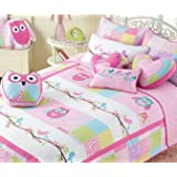 Cozy Line Home Fashions Cute Owl Pink Blue Green Birds Print Pattern Bedding Quilt Set, Reversible Coverlet, Bedspreads, 100 % COTTON, Gifts for Kids, Girls (Twin - 2 piece: 1 quilt + 1 sham)