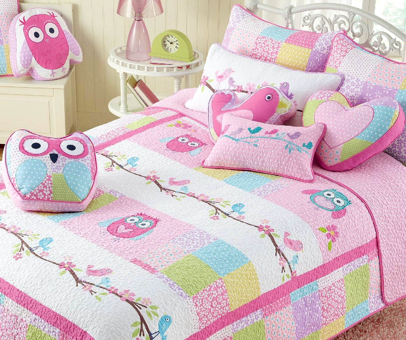 Cozy Line Home Fashions 7-Piece Pink Owl Blue Green White Dot Cotton Bedspread Quilt Bedding Set, includes 1 Quilt, 2 Shams, 4 Decorative Pillows, Christmas Gifts Set for Kids Girls, Full Queen Size