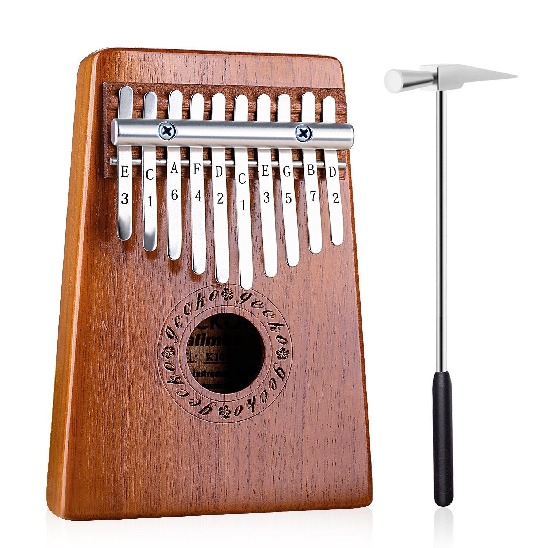 GECKO Kalimba 10 Keys Thumb Piano builts-in tuning hammer,study instruction and cloth bag.