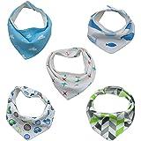 TALINU 5er Baby Dreieckstuch mit Druckknöpfen aus 100% Baumwolle I 2 Jahre Zufriedenheitsgarantie I Latz, Lätzchen, Babylätzchen, Spucktuch, Sabber-Lätzchen