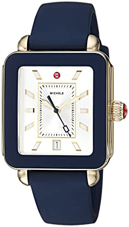 657f19430de7 MICHELE Women's Stainless Steel Swiss-Quartz Watch with Rubber Strap, Blue,  18 (