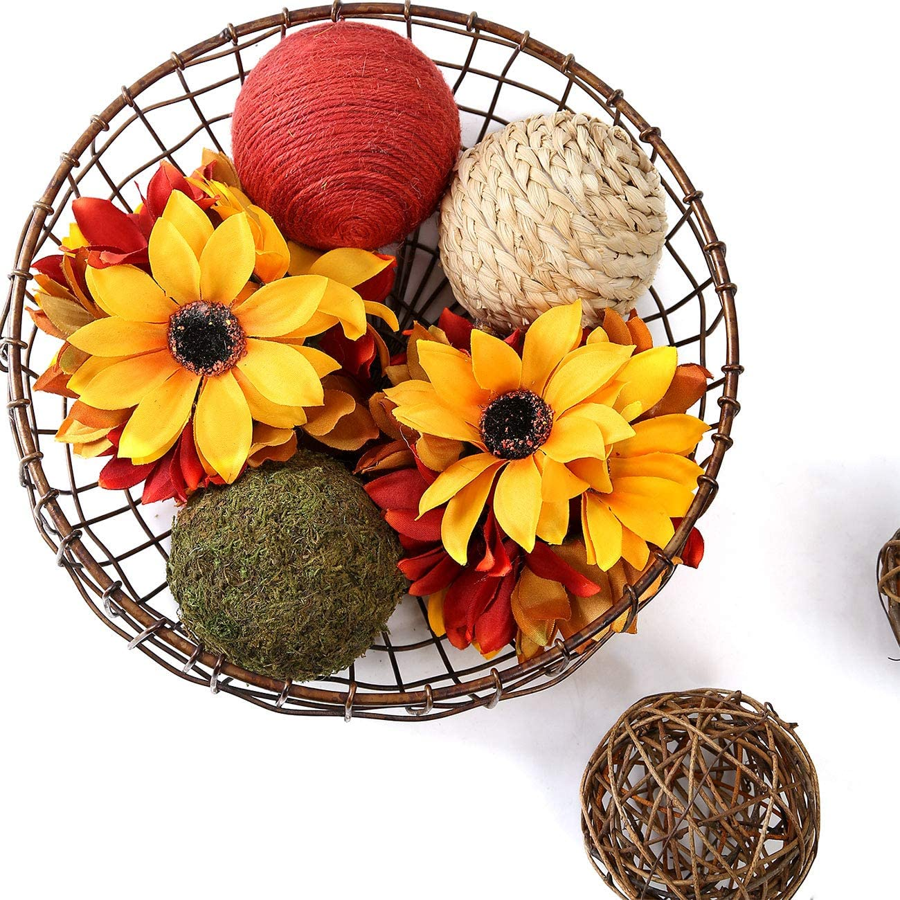 Ciroases 6 Pcs Fall Decorative Balls for Bowls Green Moss Decorative Ball Sunflower Balls Rattan Wicker Balls Orb Grapevine Ball, Home Decor Vase Fillers for Craft Project, Wedding Table Decoration