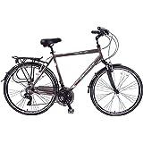 "Ammaco Traveller 700c Mens Hybrid Bike Front Suspension Alloy 23"" Frame Grey 21 Speed"