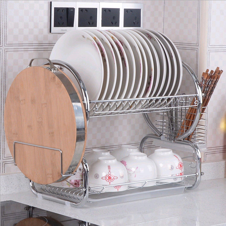 Hurbo 2 Tier Stainless Steel Dish Rack Basics Dish Plastic Drainer Dryer Tray Holder Organizer (Silver)