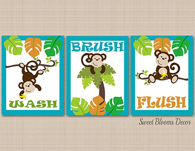 Monkey Bathroom Wall Art, Monkey Bathroom Wall Decor, Monkey Bathroom  Art,Kids Bathroom