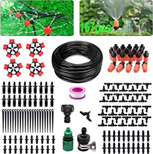 Drip Irrigation Kit 167pcs Garden Irrigation System with Adjustable Nozzles 82ft Automatic Outdoor Watering Sprinkler System for Flower Bed, Greenhouse, Yard, Water Saving Drip Irrigation Tubing Set