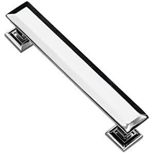Southern Hills Cabinet Pull Polished Chrome - 4 Inch Screw Spacing - Beveled Handles - Pack of 5 -Modern Cabinet Hardware
