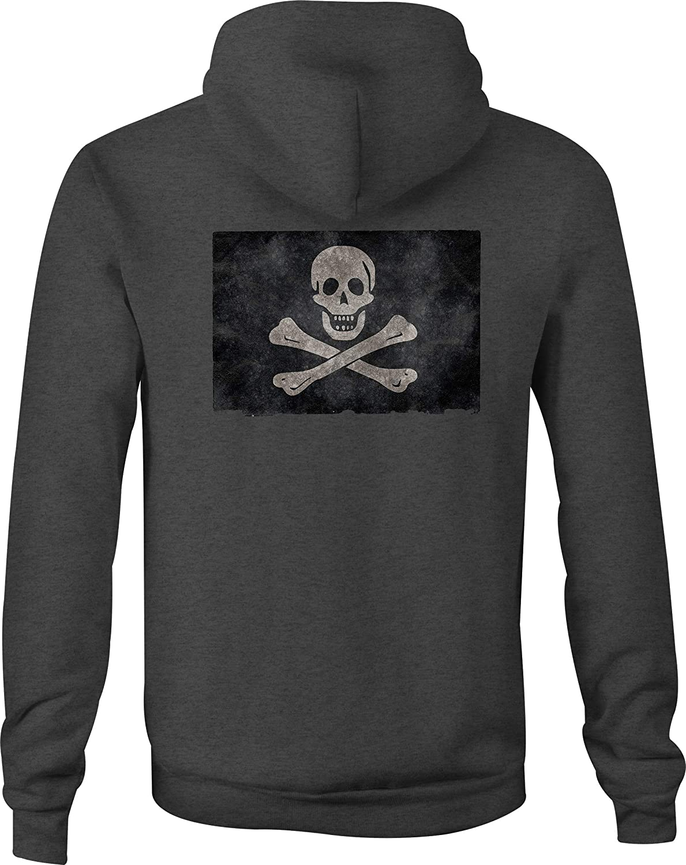 Zip Up Hoodie Tattered Pirate Flag Hooded Sweatshirt for Men