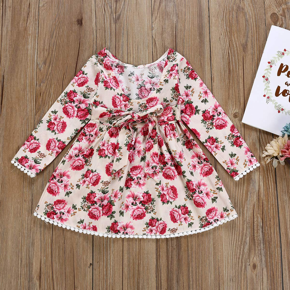 Borlai Kid Girl Dress Floral Tassel Long Sleeve Princess Edged Lace Skirt