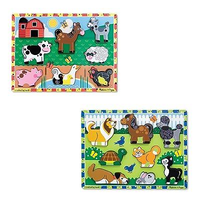 Melissa & Doug Wooden Chunky Puzzles Set - Farm and Pets: Melissa & Doug: Toys & Games