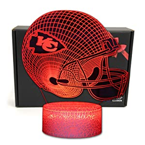 DGLighting Football Team 3D Optical Illusion Smart 7 Colors LED Night Light Table Lamp with USB Power Cable and Smart Button, for NFL Fans Gift (Kansas City Chiefs)